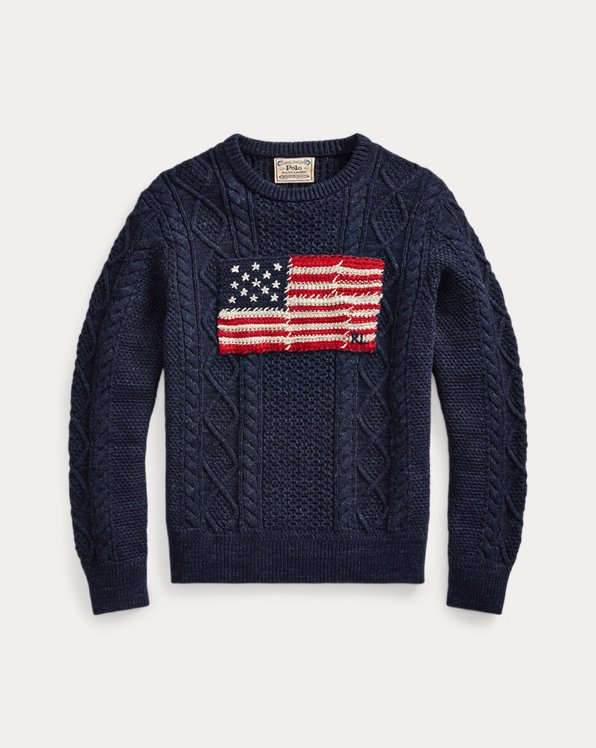 Aran-Pullover mit Patchwork-Flagge