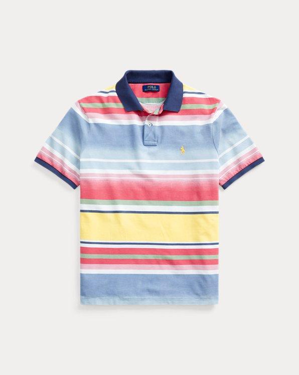 Custom Slim Fit Striped Mesh Polo Shirt
