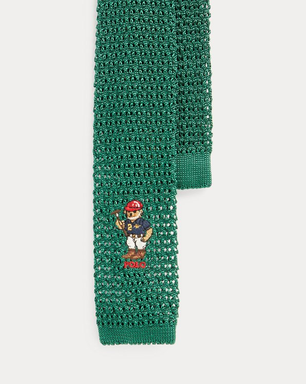 Riding Bear Knit Silk Tie