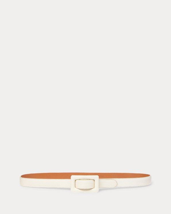 Stamped-Calfskin Skinny Belt