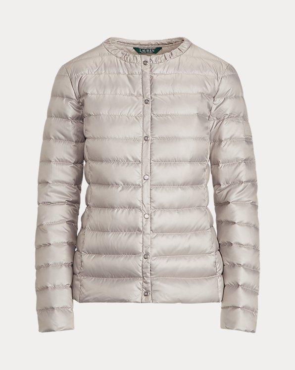 Collarless Packable Coat