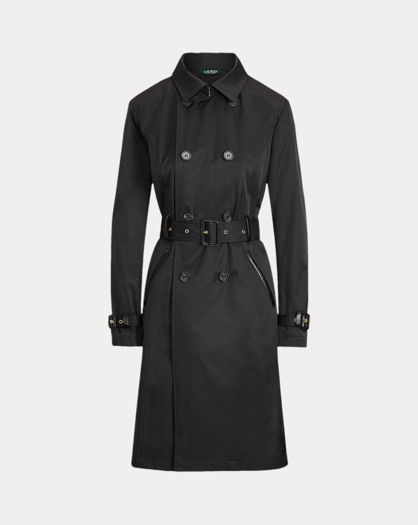 Faux Leather-Trim Trench Coat