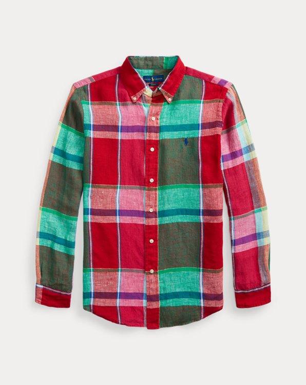 Camicia in lino scozzese Slim-Fit