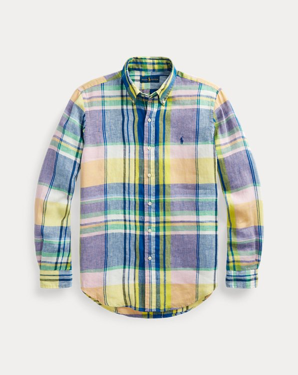 Slim Fit Plaid Linen Shirt
