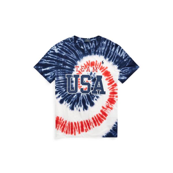 Ralph Lauren Team Usa Tie-dye Jersey T-shirt In Blue