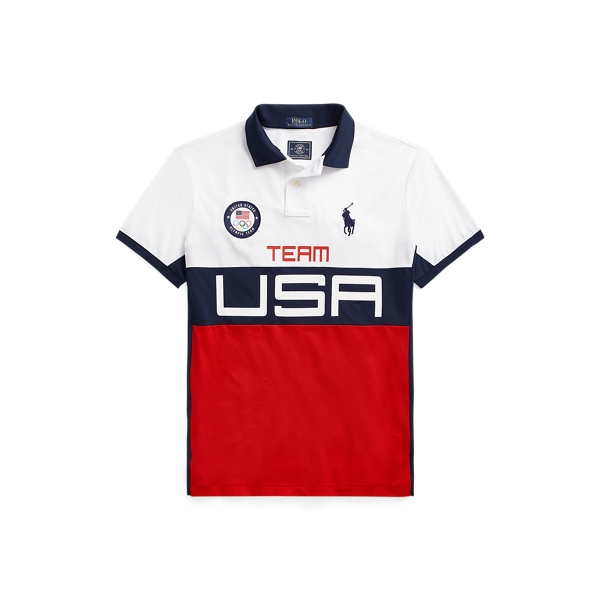 Ralph Lauren Team Usa Stretch Mesh Polo Shirt In Multi