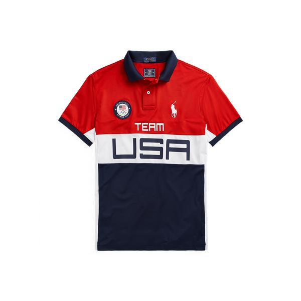 Ralph Lauren Team Usa Stretch Mesh Polo Shirt In Rl 2000 Red Multi
