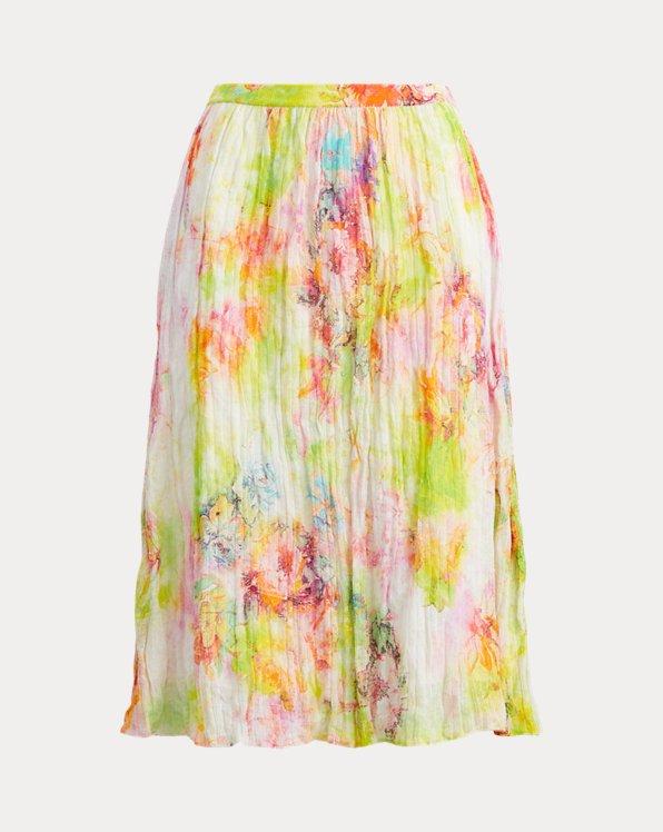 Floral Crinkle Rib-Knit Skirt
