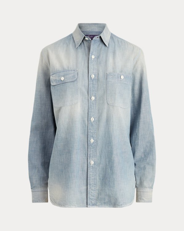 Camicia Cane Flag Bear in chambray