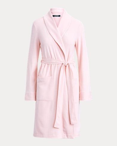 Short Shawl-Collar Knit Robe
