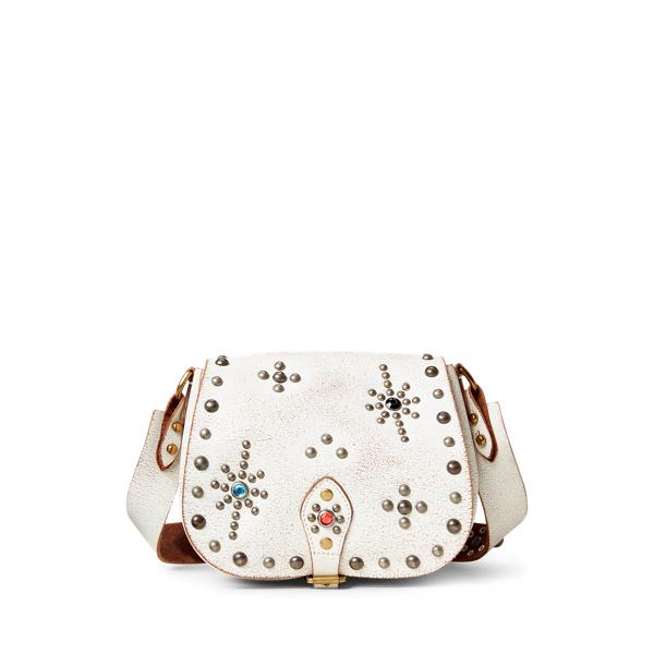 폴로 랄프로렌 Polo Ralph Lauren Studded Leather Small Crossbody,Cream