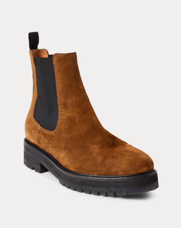 Calf-Suede Lug Chelsea Boot