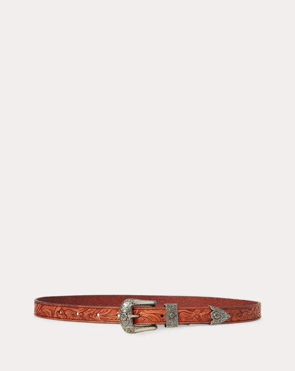 Cinturón de piel de becerro western