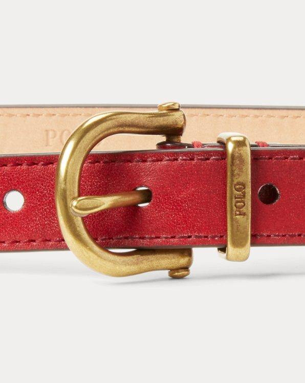 Leather Stirrup Skinny Belt