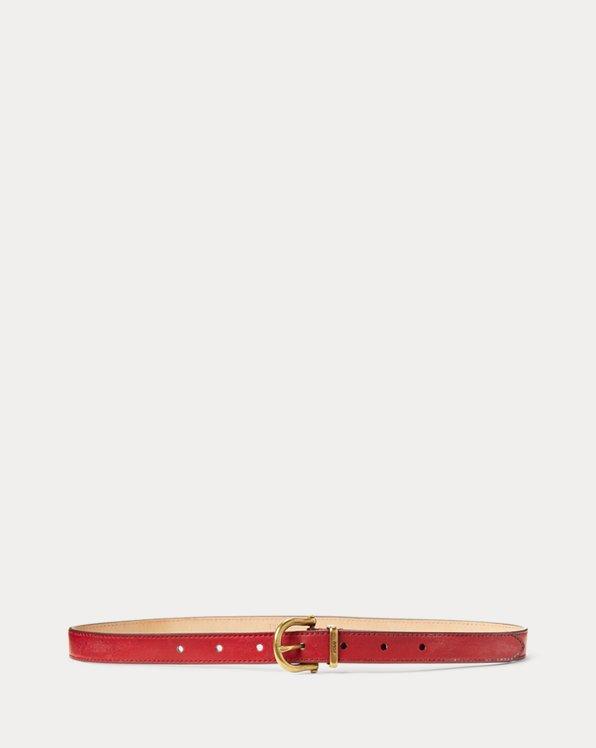Cinturón de piel estrecho con estribo