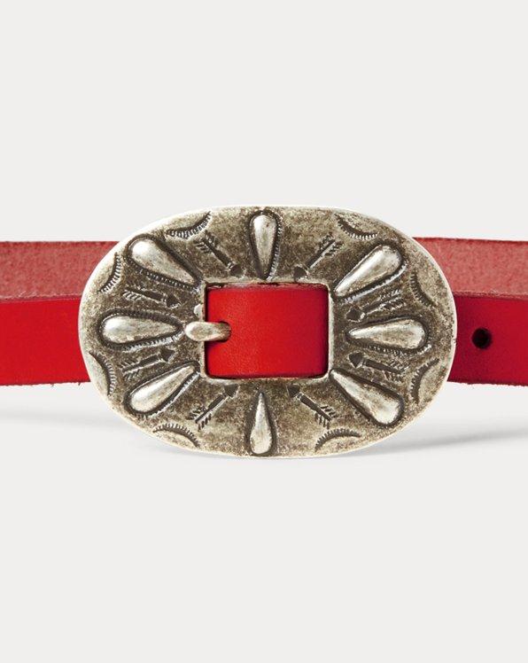 Skinny Leather Buckle Belt