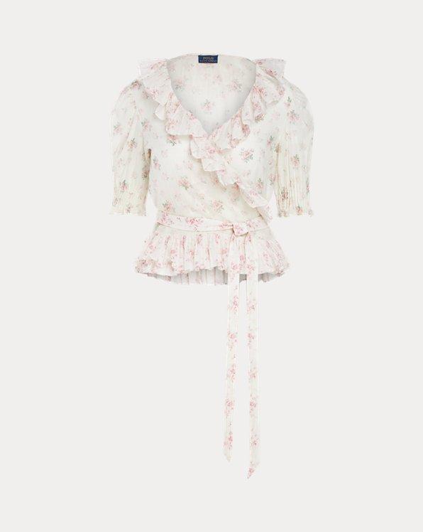 Floral Cotton Wrap Blouse