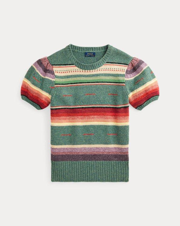 Kurzärmliger Pullover mit Streifen