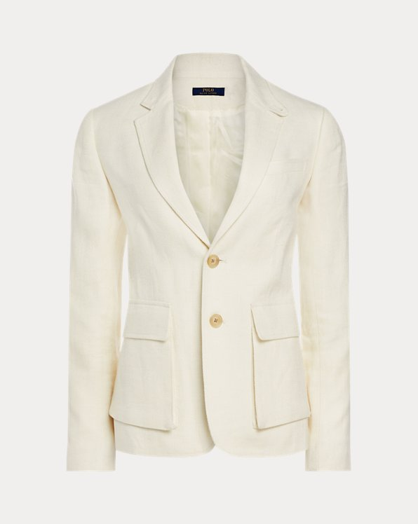 Linen-Blend Two-Button Blazer