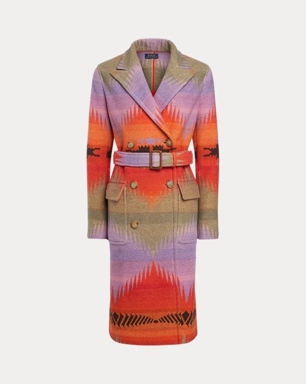 Serape Wool-Blend Coat