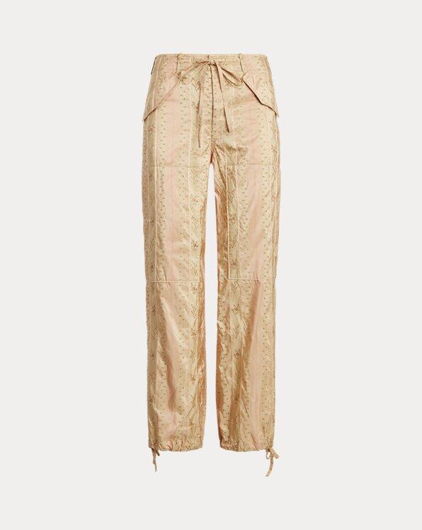 Floral Silk-Blend Cargo Pant