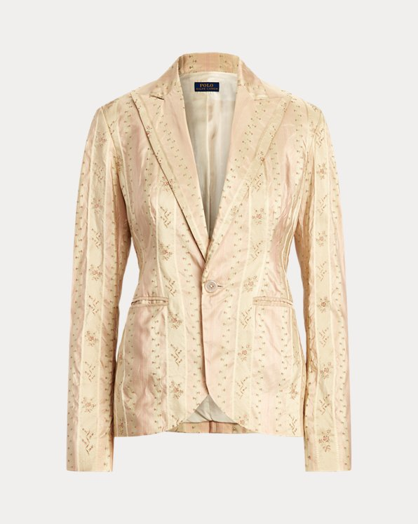 Floral Silk-Blend Blazer