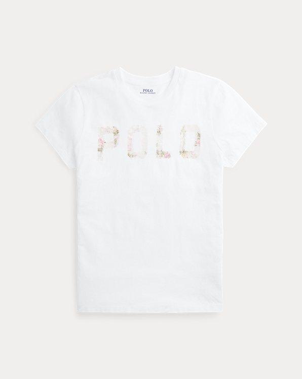 Maglietta cotone logo di paillettes