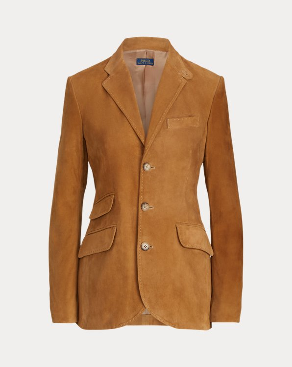 Single-Breasted Suede Blazer