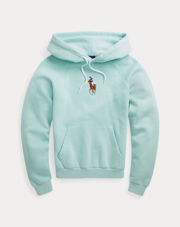 Sweat capuche molleton poney brodé