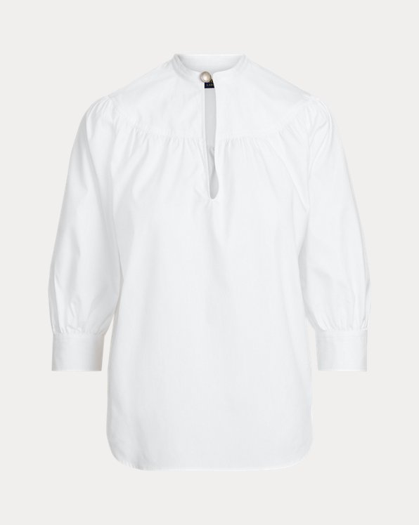 Cotton Oxford Keyhole Shirt