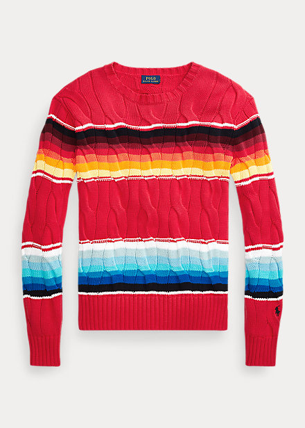 Polo Ralph Lauren Striped Cable-Knit Sweater