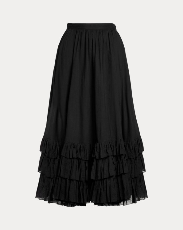Ruffle-Trim Cotton Voile Skirt