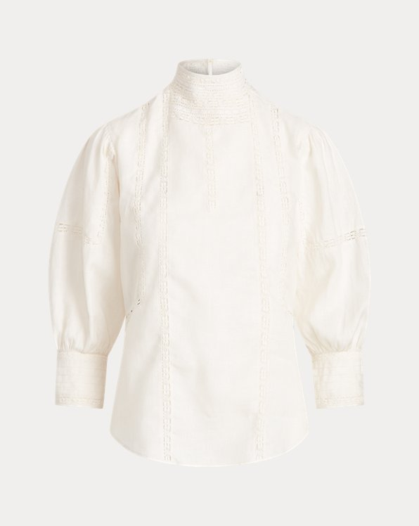 Lace-Trim Linen Blouse