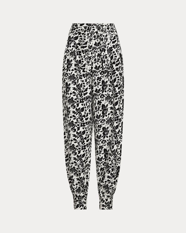 Floral-Print Silk-Blend Trousers