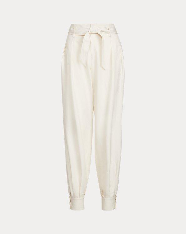 Silk-Blend Belted Pant