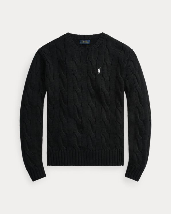 Vented-Hem Cable-Knit Sweater