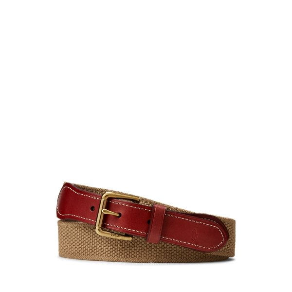 폴로 랄프로렌 보이즈 벨트 Polo Ralph Lauren Webbed-Cotton-and-Leather Belt,Khaki