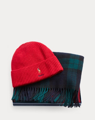 Ribbed Hat & Plaid Scarf Set