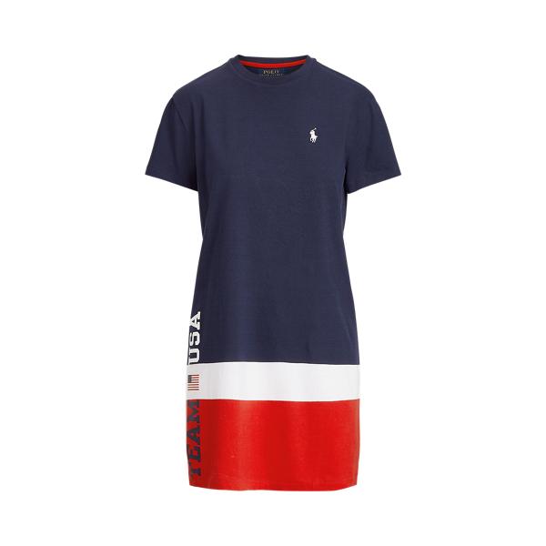 Ralph Lauren Team Usa T-shirt Dress In Cruise Navy