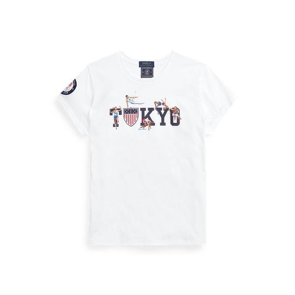 Ralph Lauren Team Usa Graphic Jersey Tee In White