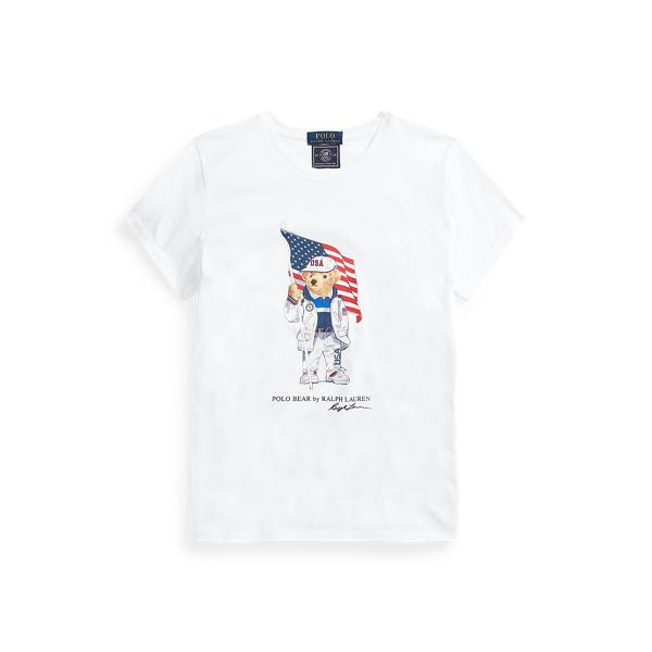 Ralph Lauren Team Usa Polo Bear Tee In White