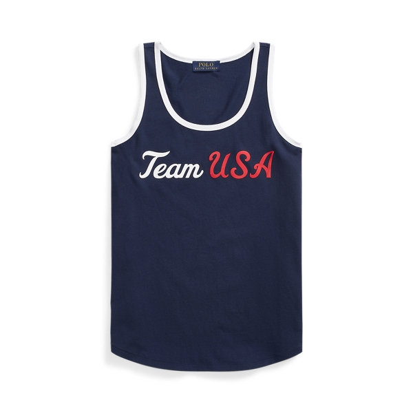 Ralph Lauren Ecofast Pure Team Usa Jersey Tank Top In Blue