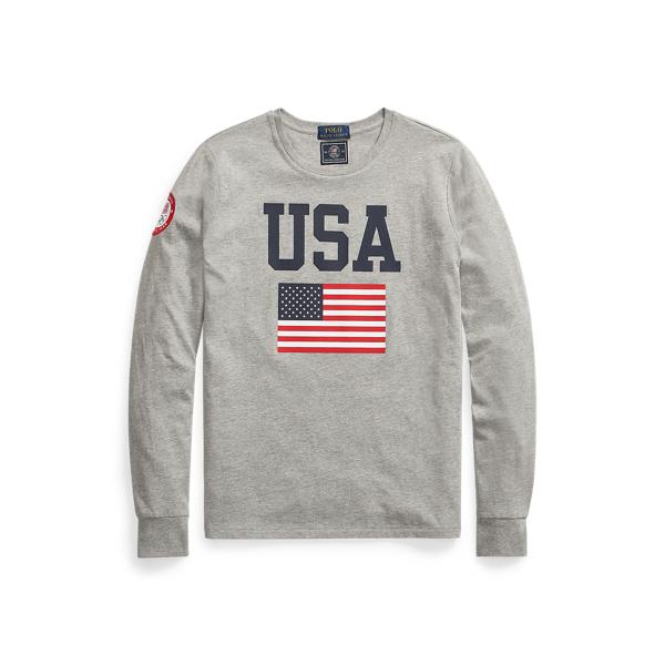 Ralph Lauren Team Usa Jersey Long-sleeve Tee In Andover Heather