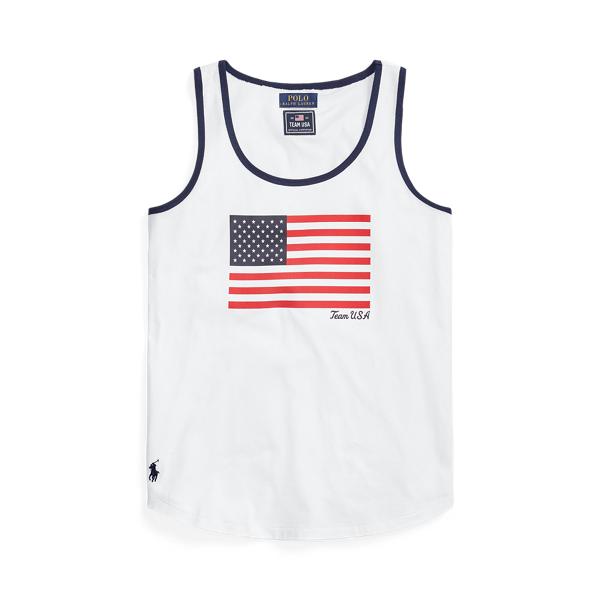 Ralph Lauren Team Usa Flag Jersey Tank Top In White