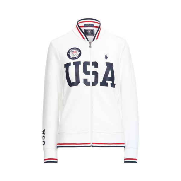 Ralph Lauren Team Usa Bomber Track Jacket In White