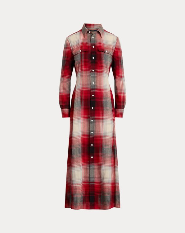 Plaid Long-Sleeve Shirtdress