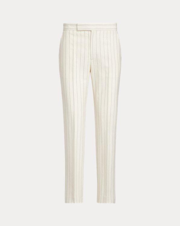 Pantalon rayé en coton mélangé