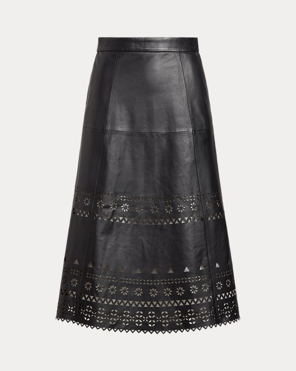 Eyelet Leather Skirt