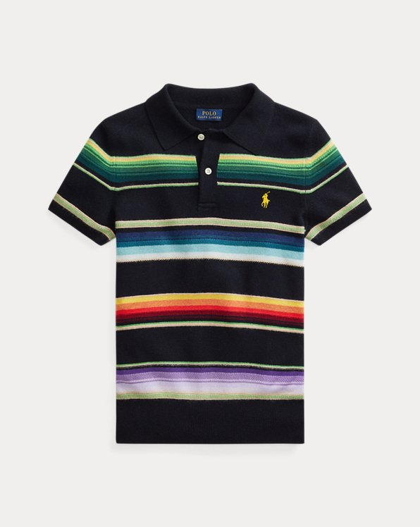 Striped Cashmere Polo Shirt