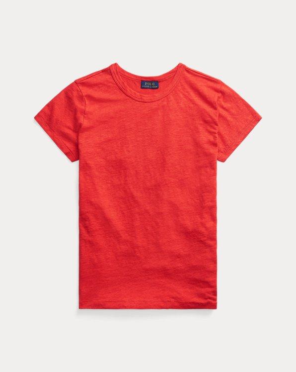 Rundhals-T-Shirt aus Leinen